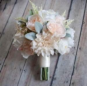 Wedding Bouquet - Blush Pink and Ivory Garden Rose Dahlia ...