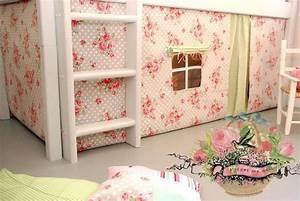 Hochbett Vorhang Nähen : gardinen vorh nge rosen hochbettvorhang f r das spielbett ein designerst ck von ~ Markanthonyermac.com Haus und Dekorationen