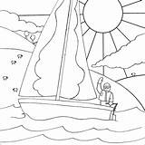 Boat Coloring Drawing Pages Sailing Sailboat Printable Colouring Sunny Clipart Easy Boats Children Drawings Sketch Disney Clip Blind Kind Library sketch template