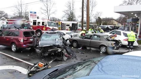 9 Taken To Hospital After 10-car Crash In North Amityville