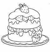 Coloring Pages Strawberry Cake Layer sketch template