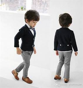 The Flower Boy Navy And Gray Dress Suit Children Show Fashion Show Children Take Suits EM01034 ...