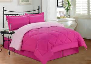 3 pc new soft reversible comforter set queen size pink
