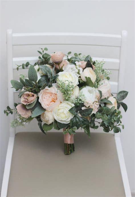 ready bridal bouquet faux bouquet white beige peony rose