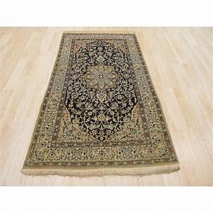 Eastern rugs naiin hand knotted ivory navy blue area rug for Wayfair rugs