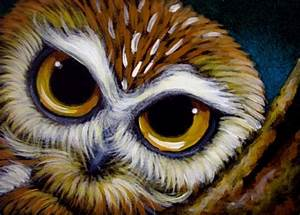 SAW-WHET OWL WATCHING YOU - by Cyra R. Cancel from