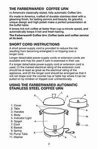 The Farberware U00ae Coffee Urn  Short Cord Instructions