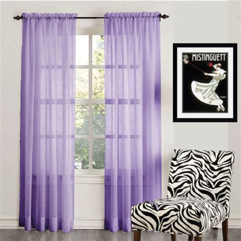 organza sheer voile rod pocket curtain panel purple