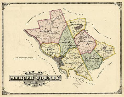 Map Of Mercer County Nj Repro 20x16 Ebay