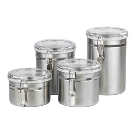 clear plastic kitchen canisters home basics 4 stainless steel canister set with
