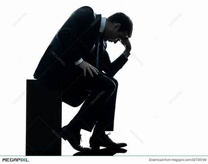 Sad Silhouette Sitting Business Down Looking Businessman