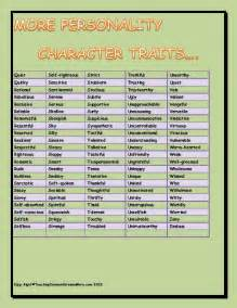 Physical Character Traits Chart