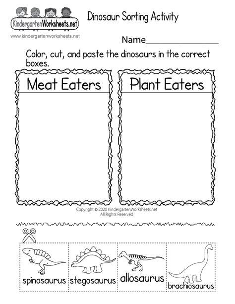 printable dinosaur worksheet  kindergarten learning