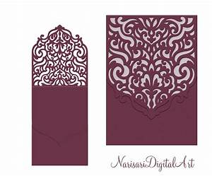 Wedding invitation pocket envelope half fold card svg for Pocket wedding invitations cricut