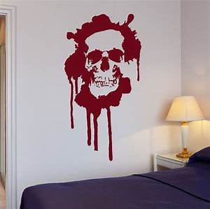 wall stickers blood horror skull death teen room art mural With wall murals decals