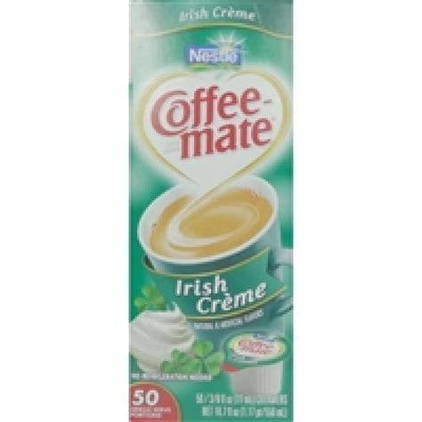 I try to buy clean versions of creamer. Coffee-mate Irish Cream - 50 Creamers   Snackoree
