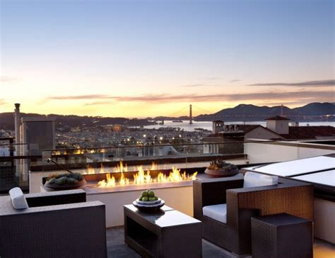 Roof Top Terrace : Rooftop Terrace Fireplace And Fire Pit Design Ideas To