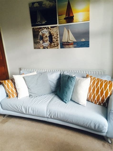 Blue Sofas For Sale by Blue Leather Sofa For Sale In Leicester Leicestershire