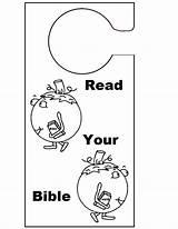 Knob Bible Coloring Hanger Template Doorknob sketch template