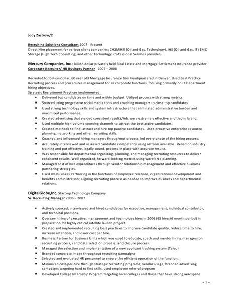 Z Resume by Jody Zastrowresume Corporate Recruiter