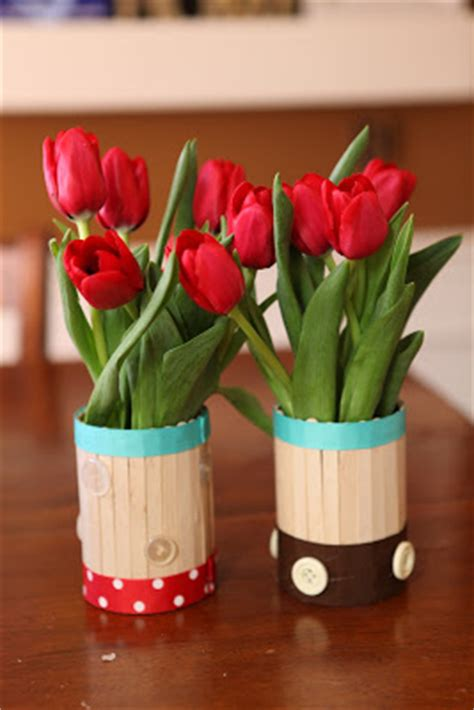 kerajinan stik es krim vas bunga mudah dibuat