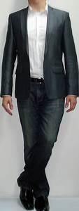 Dark Grey Blazer White Shirt Dark Blue Jeans Black Shoes Black Belt - Menu0026#39;s Fashion For Less