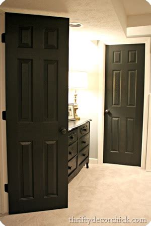 black interior doors   basement  thrifty decor