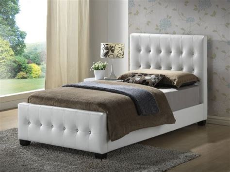 white twin size modern headboard tufted design leather
