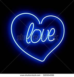 Love Blue Neon Heart