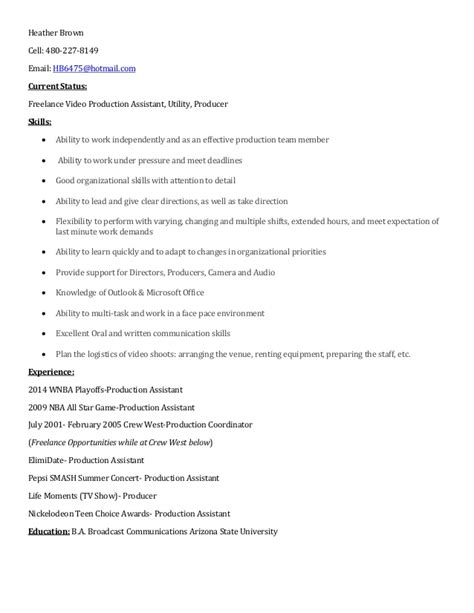 Vedio Resume by Michael Shann Resume Brown Production Resume Resume 2018