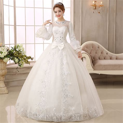 jual gaun pengantin wedding dress import lengan panjang