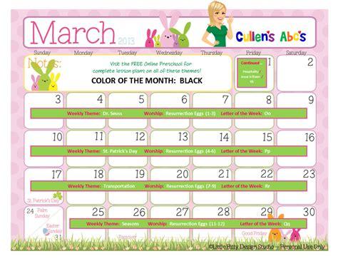 march    preschool calendar  children