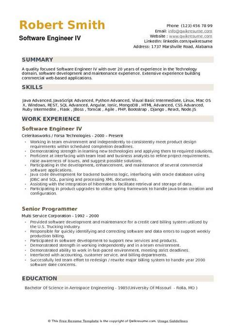 Software Engineering Resume by Software Engineer Resume Sles Qwikresume