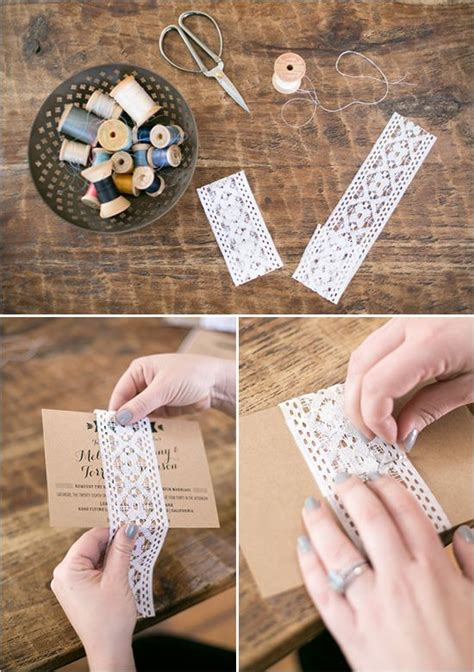 dress up your wedding invites lace wrap diy tutorial