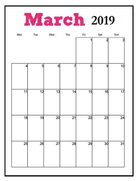 printable march  vertical calendar monthly calendar