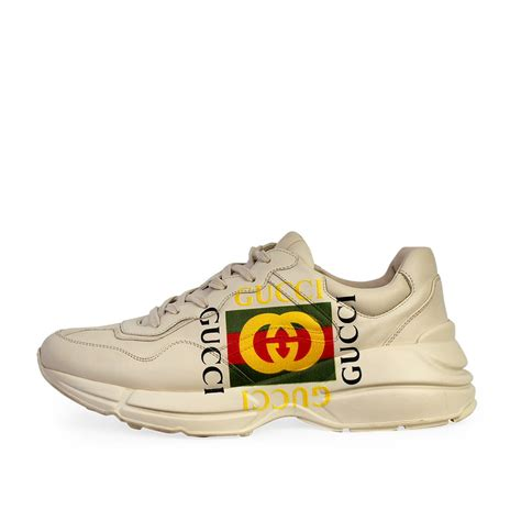 Gucci mens patent leather sneakers shoes with original box. GUCCI Leather Logo Rhyton Sneakers White - S: 44 (9.5 ...