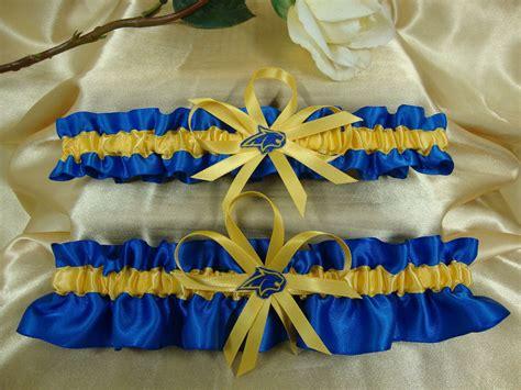 montana state colors satin wedding garter set with montana state