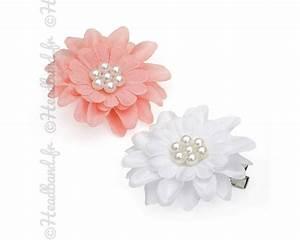 Fleur Rose Et Blanche : barrettes textile fleurs perl es unies ~ Dallasstarsshop.com Idées de Décoration