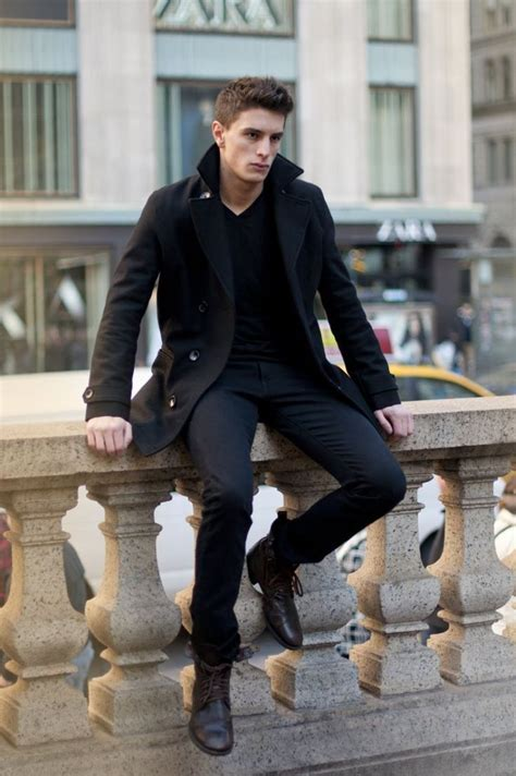Black Peacoat With Pants Boots Pictures Photos