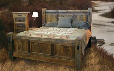 handcrafted reclaimed wood bed  bedroom furnture