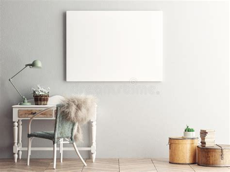 A living room wall canvas mockup to showcase paintings, calligraphy, illustrations or photograph. Mock Up Blank Poster On The Wall Of Living Room Stock Illustration - Illustration of brand ...