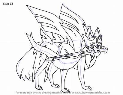 Zacian Pokemon Draw Step Drawing Tutorials