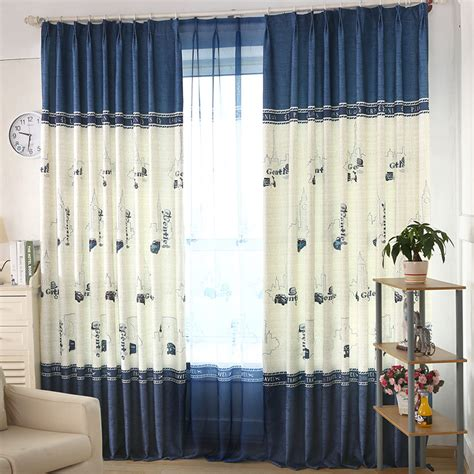 blue and white curtains blue and white print linen cotton blend