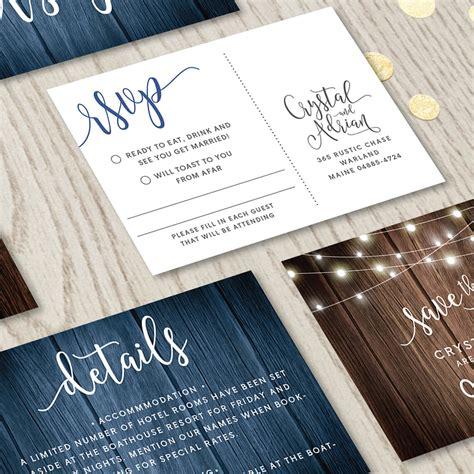 rustic wedding invitation set printable stationery