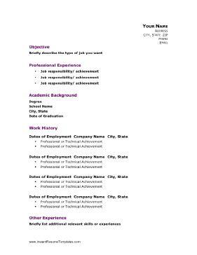 professional academic resume template