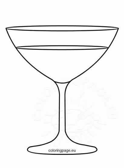 Glass Champagne Template Coloring Flute Coloringpage Eu