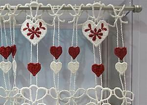 Rideau Macramé Au Mètre : petit rideau cantonni re macram coeur rouge petit rideau pr t poser petit rideau la coupe ~ Teatrodelosmanantiales.com Idées de Décoration