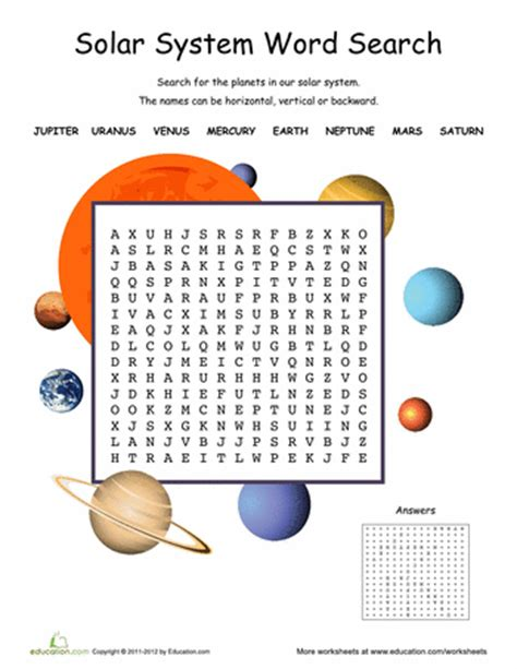 solar system word search cc cycle 2 science