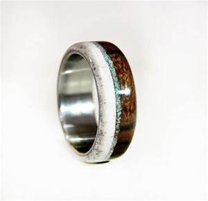 Mens wedding band wood and antler ring with turquoise and for Mens turquoise wedding rings