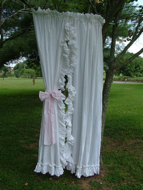 shabby chic curtains white shabby chic white ruffle vintage curtains by bellasattictreasures